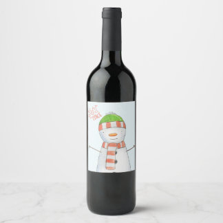 Joy and Peace | Cute Snowman Christmas Wine Label