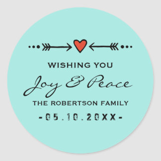 Joy and Peace Hearts Arrows Christmas Black Teal Round Sticker