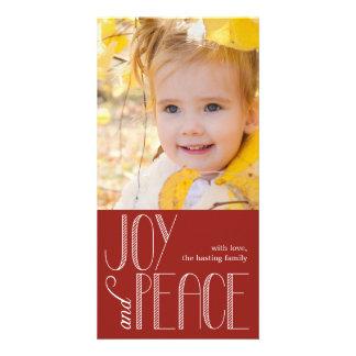 Joy and Peace Holiday Photo Card Custom Photo Card