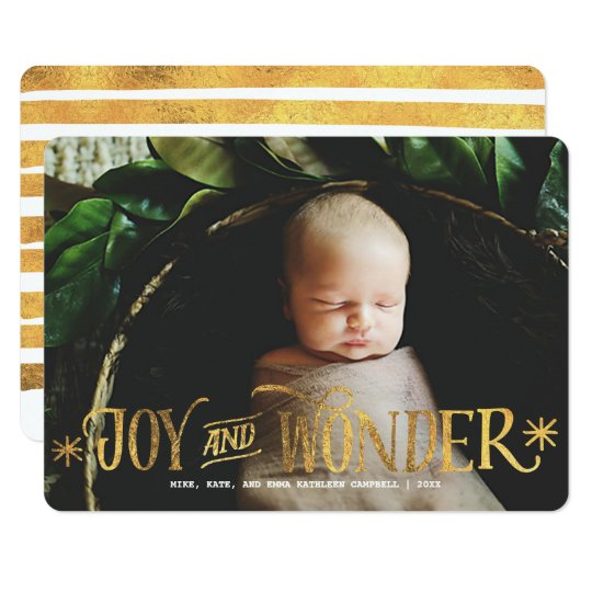 Joy and Wonder Gold Faux Foil Script | Holiday Card