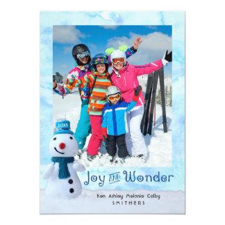 """Joy and Wonder"" Snowman w/ One Photo Card"
