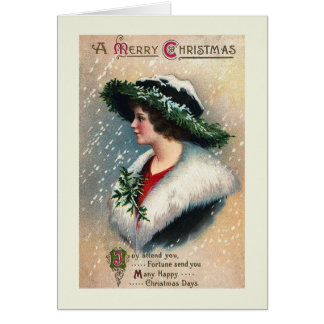 """Joy Attend You"" Vintage Christmas Card"