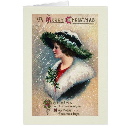 """Joy Attend You"" Vintage Christmas Card"