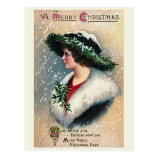Joy Attend You Vintage Christmas Postcard