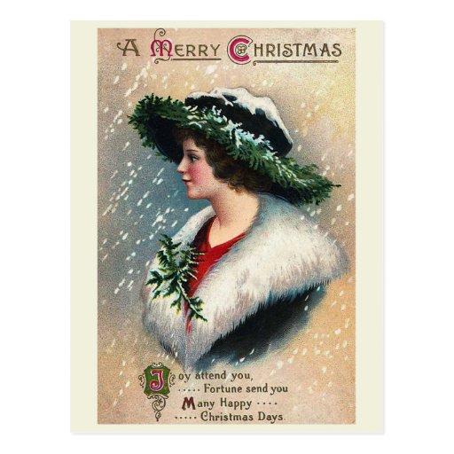 """Joy Attend You"" Vintage Christmas Postcard"