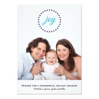 Joy Blue Holiday Wishes Flat Photo Card 13 Cm X 18 Cm Invitation Card