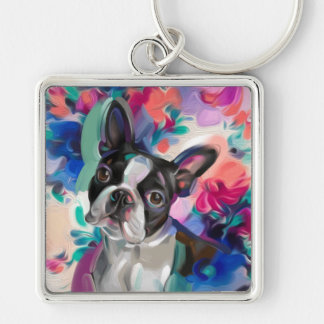 'Joy' Boston Terrier Dog Art key chain
