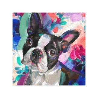 'Joy' Boston Terrier Dog Art print on canvas