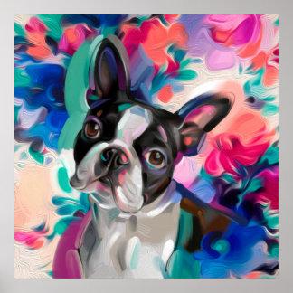 'Joy' Boston Terrier Dog Art print on paper