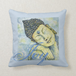 Joy Buddha Watercolor Art Pillow