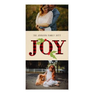 Joy Buffalo Check Rustic Plaid Christmas 2 Photo Card