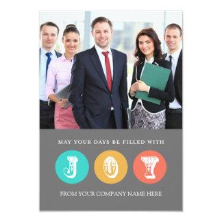 Joy Business Christmas Photo Card Coral Grey 13 Cm X 18 Cm Invitation Card