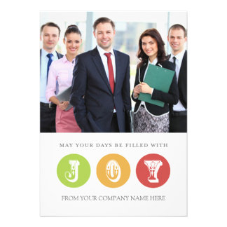 Joy Business Christmas Photo Card White