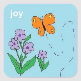 joy butterfly square sticker