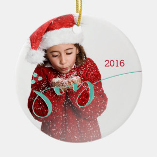 Joy! Candy Canes and Holly Christmas Ornament
