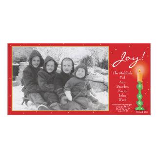 Joy Christmas Candle Photo Card