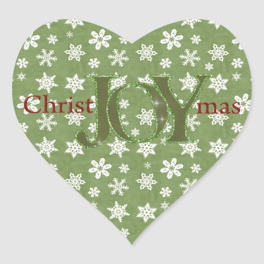 Joy Christmas Green and White Snowflakes Heart Sticker