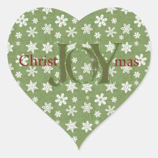 Joy Christmas Green and White Snowflakes Stickers
