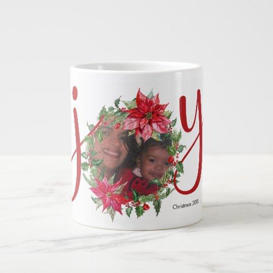 JOY Christmas Wreath Large Coffee Mug