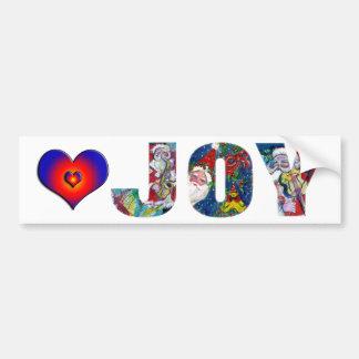 JOY COLORFUL HEARTS MUSICAL SANTA CHRISTMAS PARTY BUMPER STICKER