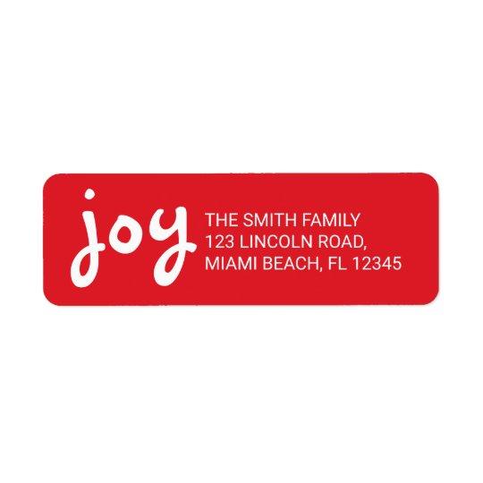 Joy | Cute and Fun Red Christmas Holidays Return Address Label