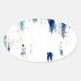 Joy Fountain Oval Stickers
