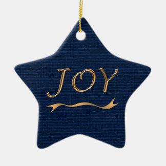 JOY gold ribbon shiny blue star custom text back Ceramic Star Decoration