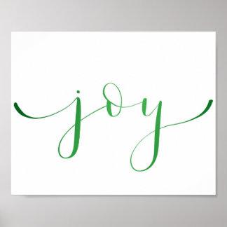 Joy- green foil effect poster