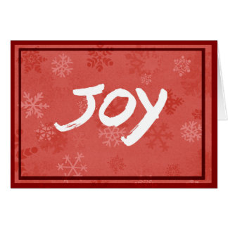 Joy greeting with red snowflake background card