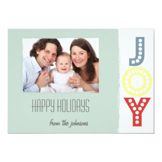 Joy Happy Holidays Minimalist Photo Flat Card 13 Cm X 18 Cm Invitation Card