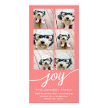 Joy Holiday Photo Collage Elegant Coral Peach Photo Card Template