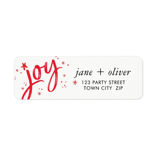 JOY HOLIDAY stylish simple modern red sparkles Return Address Label