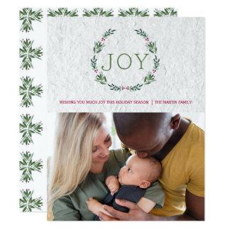 JOY HOLLY WREATH CHRISTMAS CARD