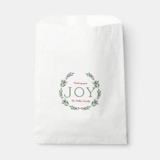 JOY HOLLY WREATH FAVOUR BAGS