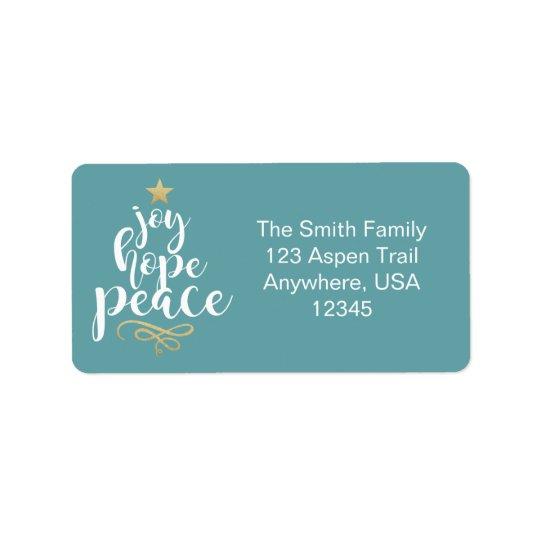 Joy, Hope & Peace Christmas Address Labels