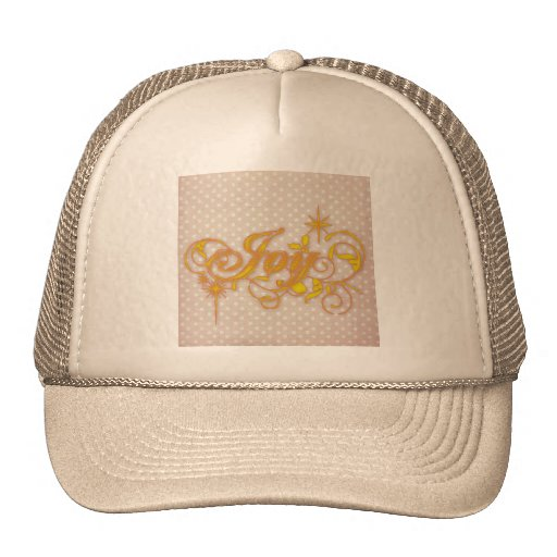 Joy, inspire to bliss on vintage textile mesh hats