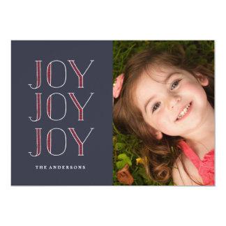 JOY JOY JOY  Christmas Holiday Card 13 Cm X 18 Cm Invitation Card