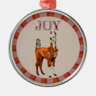 JOY LLAMA & OWL CHRISTMAS ORNAMENT