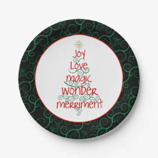 Joy • Love • Magic • Wonder • Merriment Paper Plate