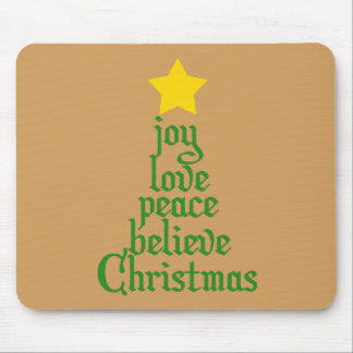 Joy, Love, Peace, Believe, Christmas Mouse Pad