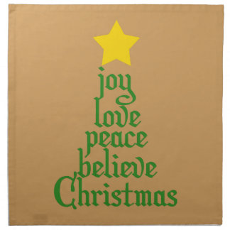 Joy, Love, Peace, Believe, Christmas Napkin