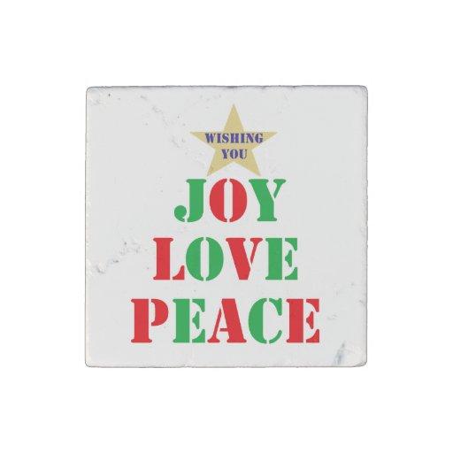 Joy, Love, Peace Stone Magnet
