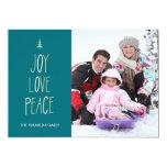 Joy, Love & Peace Hand Lettered Holiday Photo Card Custom Invitations