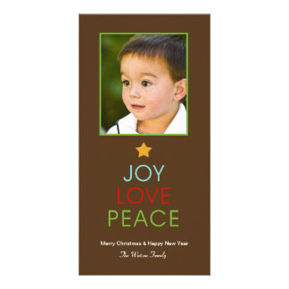Joy Love Peace Holiday Photo Card Customized Photo Card