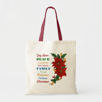 Joy Love Poinsettia Christmas Budget Tote Bag