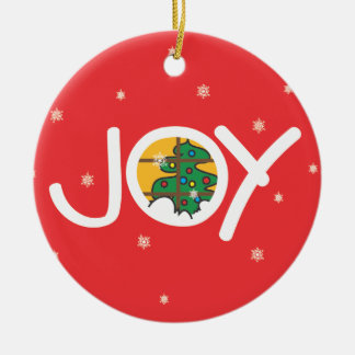 Joy - Merry Christmas Round Red Ornament