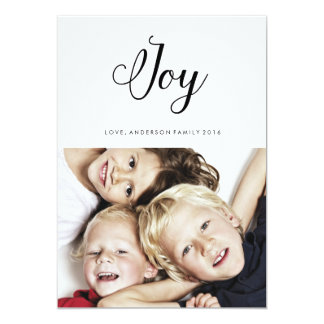 JOY modern holiday card calligraphy lettering