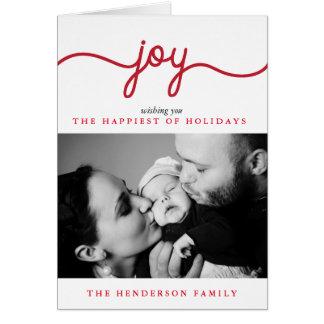 Joy Modern Script Christmas Photo Greeting Card