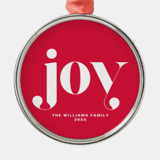 Joy Modern Typography Personalized Holiday Christmas Ornament
