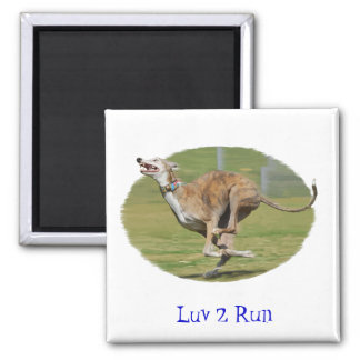 Joy of Running in Grass Square Magnet